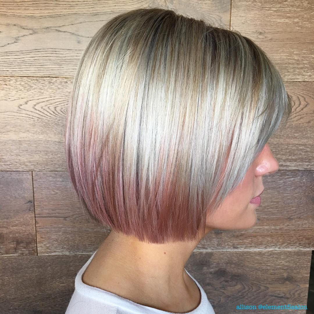 Short Blunt Platinum Blonde Bob With Rose Gold Balayage Ombre Hair