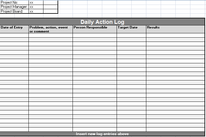 Daily Activity Log Sheet Template