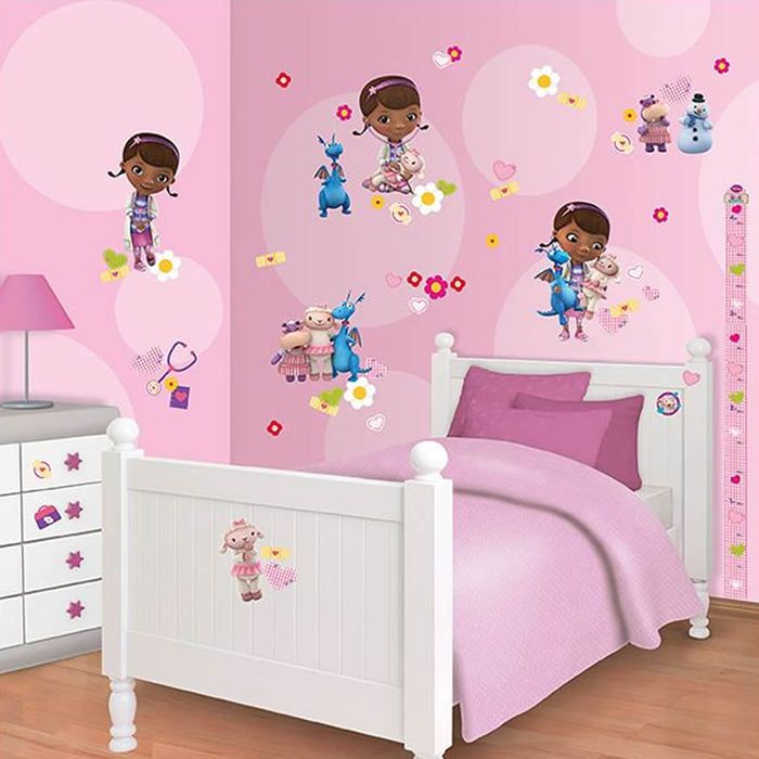 doc mcstuffins bedroom sticker kit with height chart from