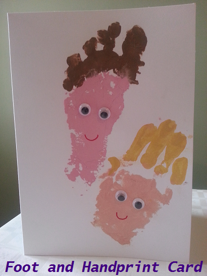 Foot and Handprint Card, really simple to make! Footprint as dad and handprint as son, just too cute!