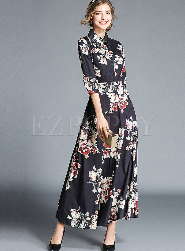 Vintage Print High Waist Lapel A Line Maxi Dress Dresses Casual Silk Dresses A Line Maxi Dress [ 1066 x 789 Pixel ]