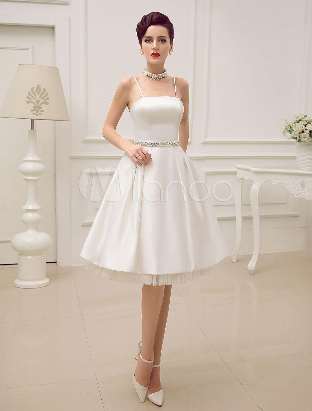Cintas de espaguete vintage Backless cetim curto casamento vestido ...