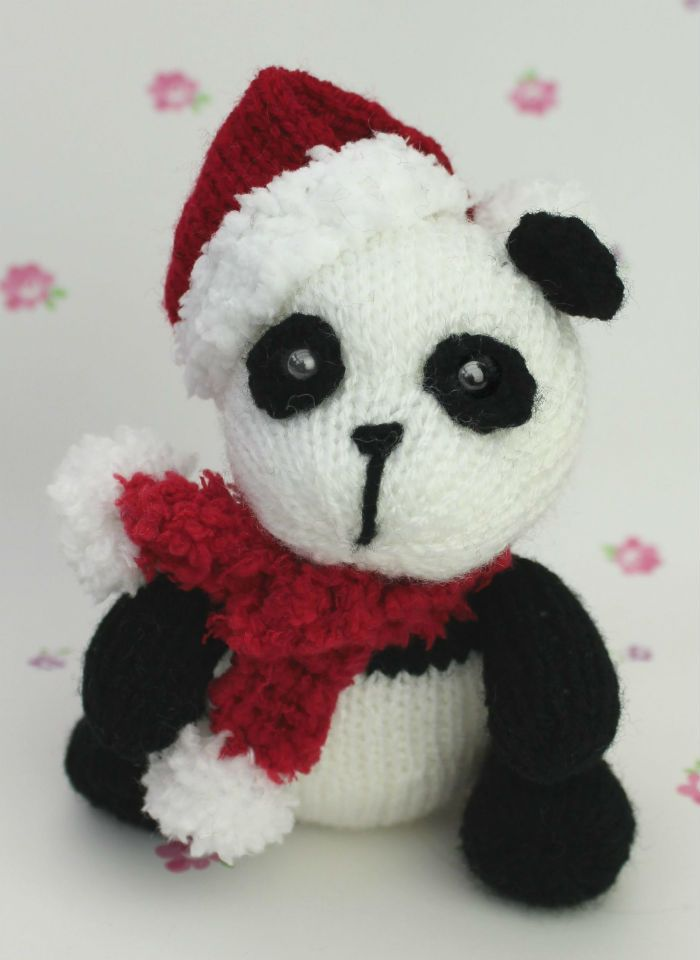 Free Knitting Pattern for Christmas Panda - Toy panda with hat and ...