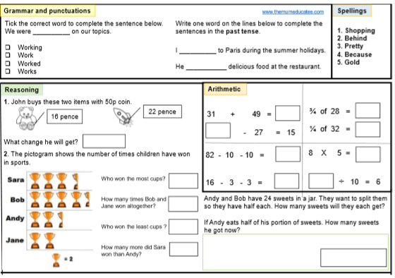 KS1 SATS worksheet. Year 2 tests. Grade 2 children Maths ...