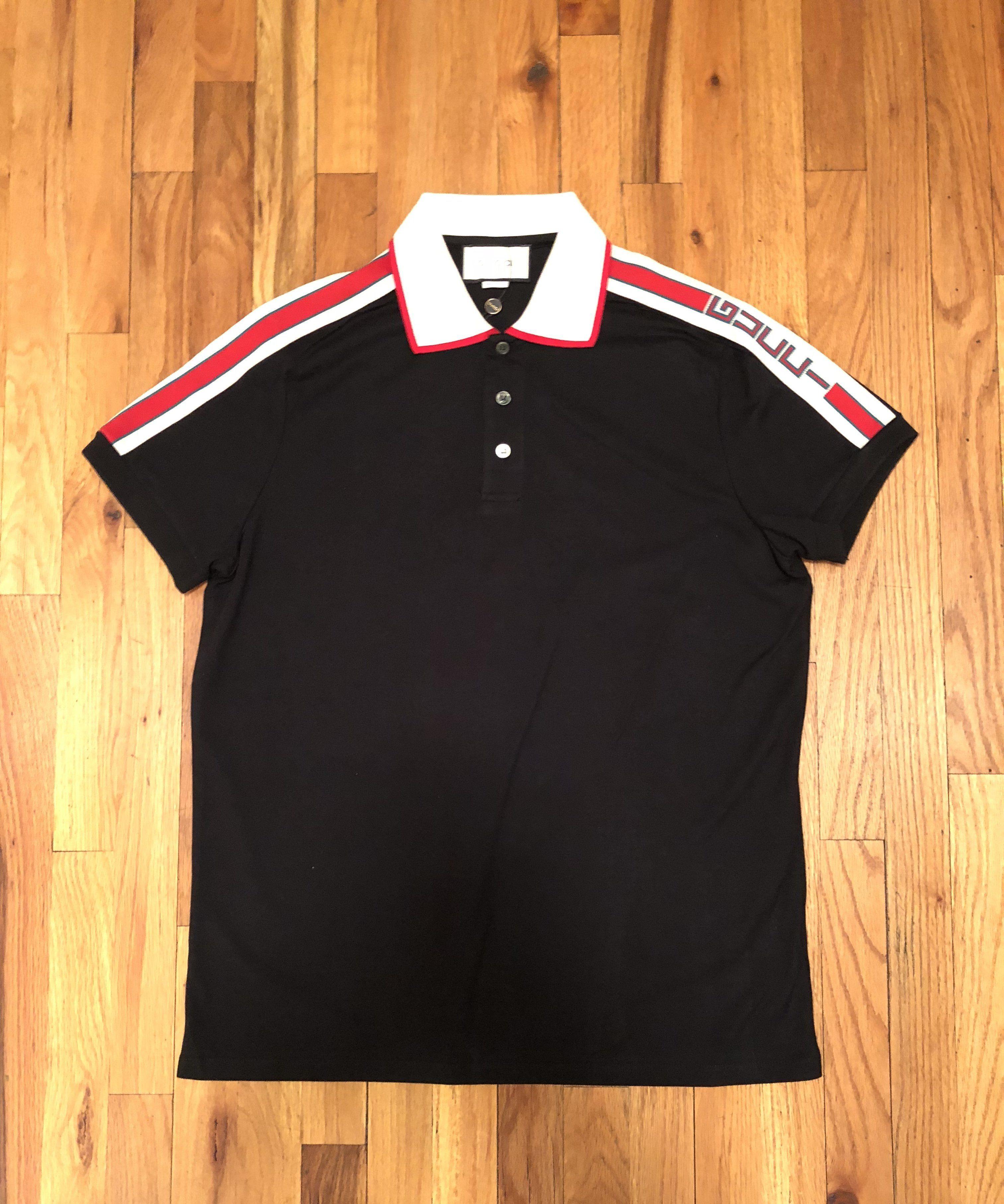 65e89f453aea88 Gucci Black Polo with Jacquard Stripe