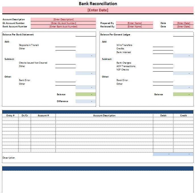 Bank Reconciliation Template Accounting Tools Pinterest - accounting forms in excel