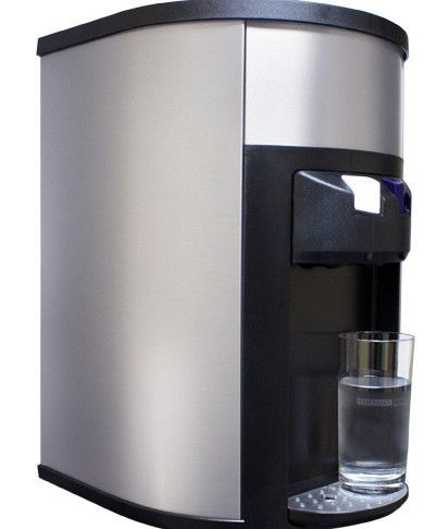 degree top loading hot and cold countertop water cooler in silver