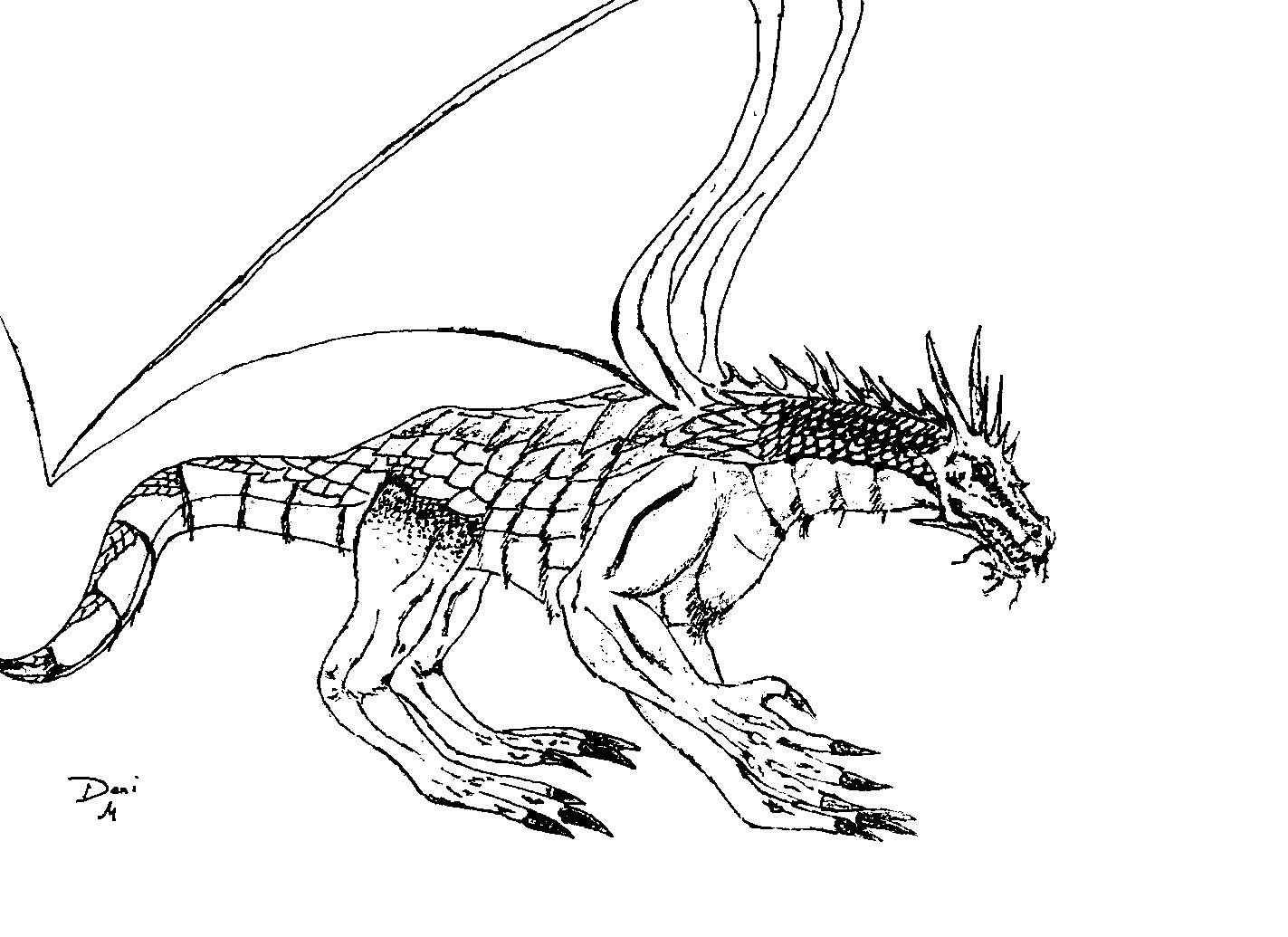 Free printable coloring story books - Scaly Dragon Free Printable Coloring Page
