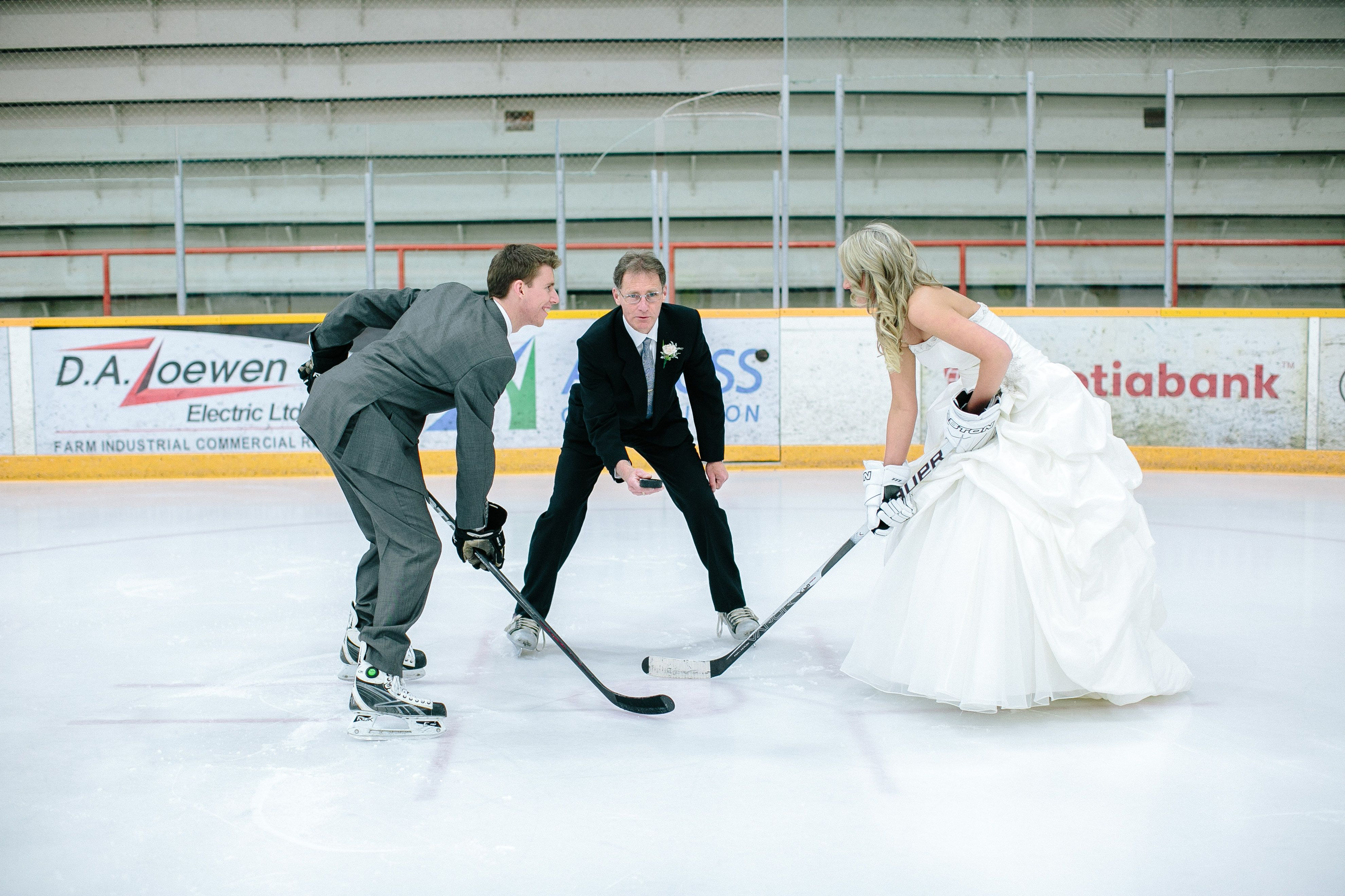 Winter Wedding Ice Hockey Bride And Groom Pinning Because He Has Great Taste In Skates And She Has G Hockey Wedding Hockey Wedding Theme Hockey Wedding Photos
