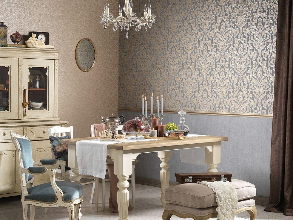 Tapete barock und unten schlichte farbe tapeten ideen for Elegante tapeten