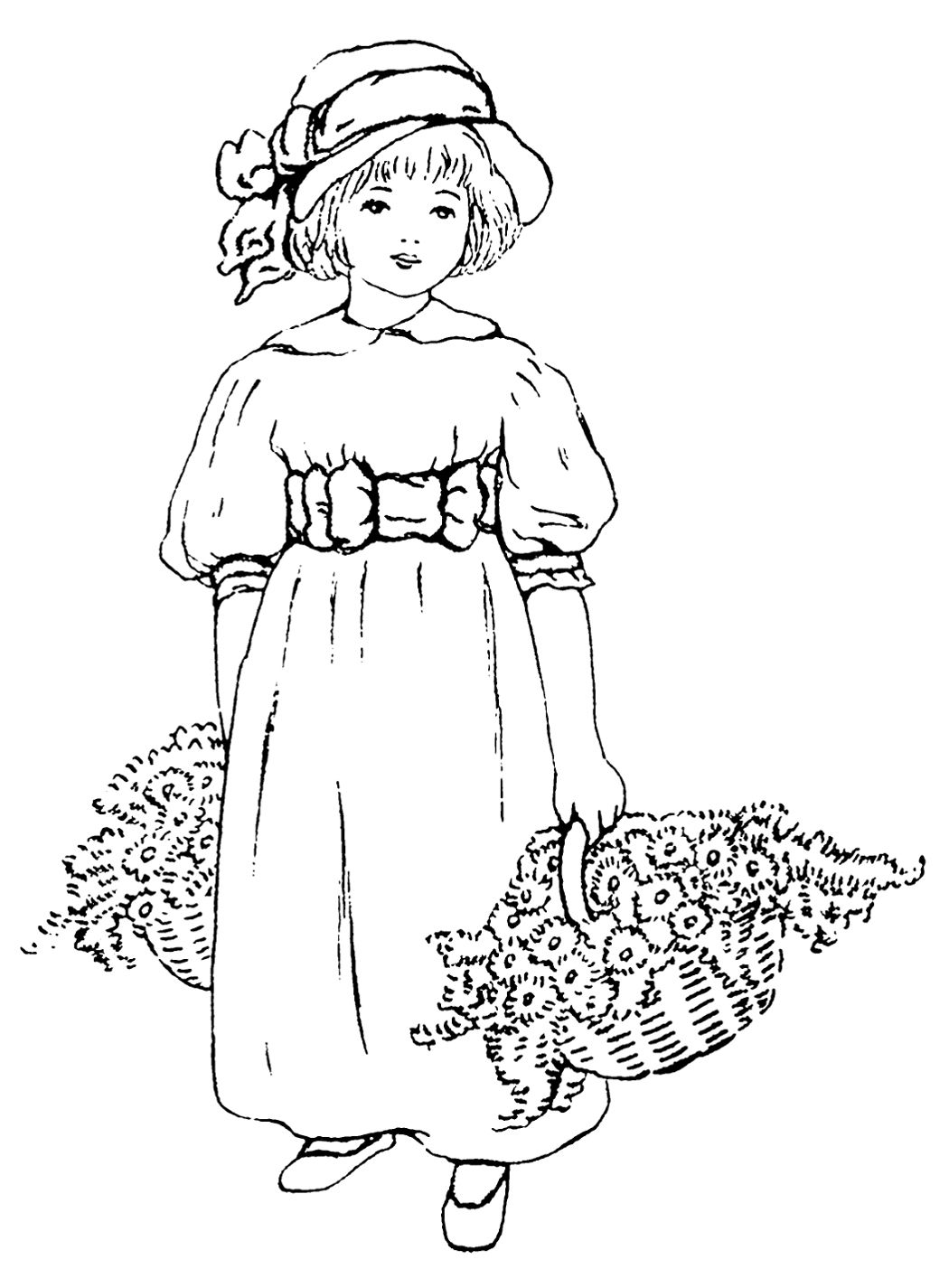 Black & white clip art ~ little girl with baskets of flowers ...