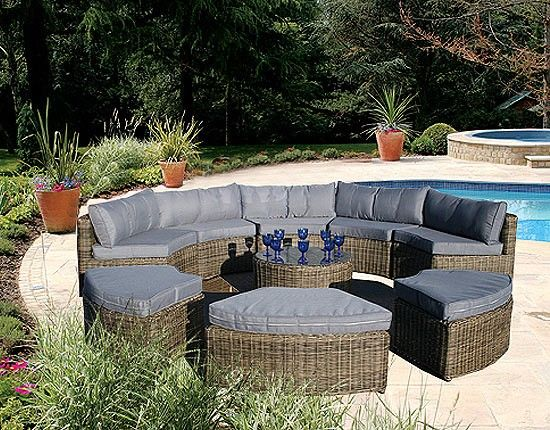 Garden Furniture Rattan curved modular rattan garden furniture set - 9 piece | garden