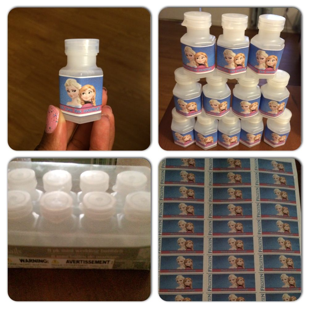 Frozen Party Favors DIY The Mini Bubbles Came From The Dollar Tree 8 In A