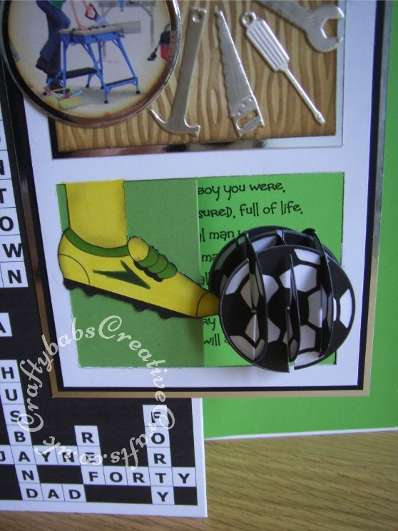 A4 Mens Diy Crossword Football Themed 40th Birthday Card Made