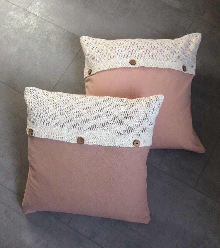 2x Kissenbezug 45x45cm Kissen Hülle Muster Shabby Chic Landhaus Sofa Bett  Knopf | Möbel U0026 Wohnen