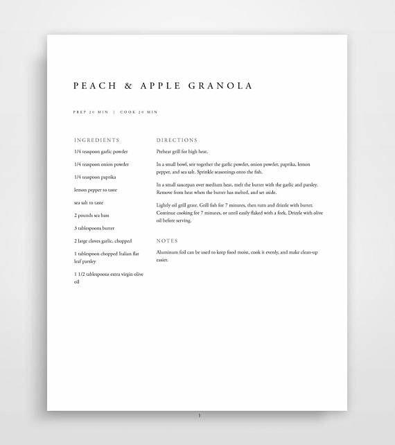 Recipe Book Template, Printable Recipe Binder, Family Cookbook ...