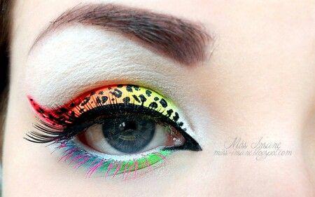 Red Orange Yellow Green Blue Pink Cheeta Leopard Print Eyeshadow