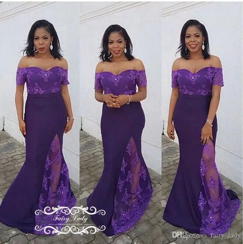 f3cf77763c Chic 3D-Floral Appliques 2018 Long Purple Evening Dresses Sheer Lace ...