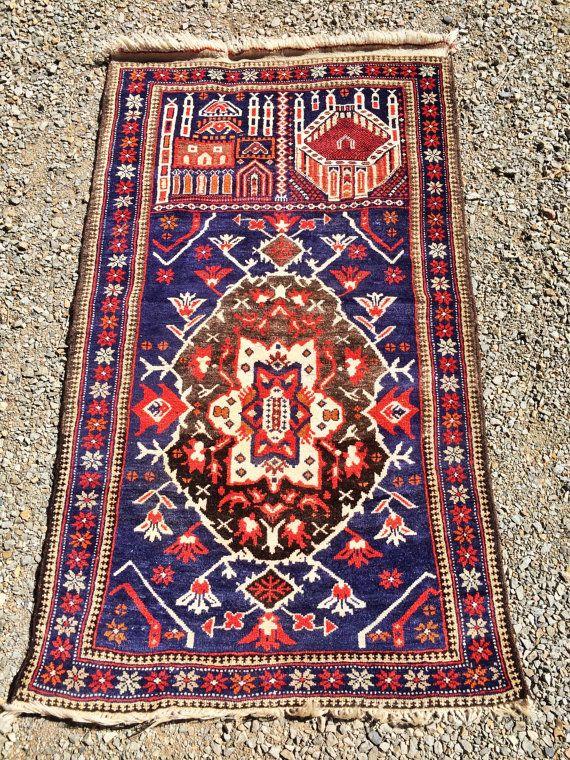 Tribal Prayer Rug Baluch Cobalt Blue Persian Afghan
