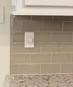 Kitchen Backsplash End pencil rail caps off the end of a #glass #subway #tile backsplash