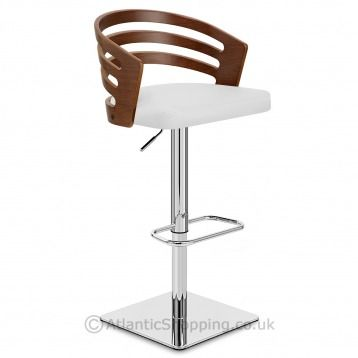 Our rapport walnut bar stool white leather pairs chic - Interior leather bar free online ...