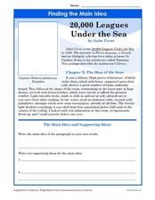 Finding the Main Idea: 20,000 Leagues Under the Sea Worksheet ...