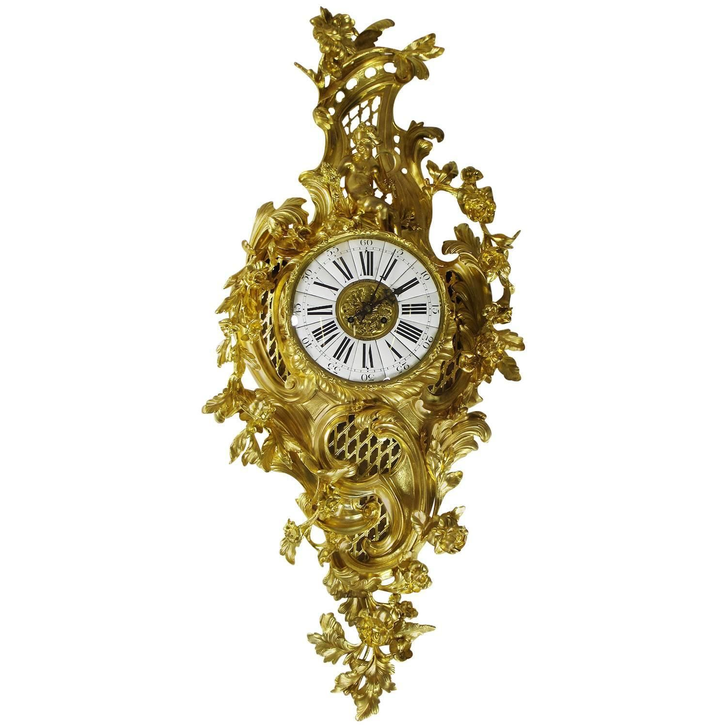French 19th Century Louis XV Style Gilt Bronze Cartel Clock Lerolle ...