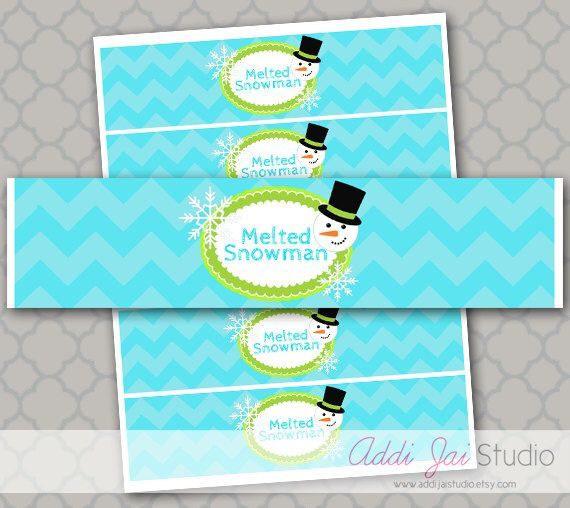 Melted Snowman Water Bottle Labels INSTANT DOWNLOAD by AddiJaiStudio