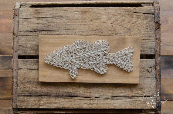 Bass Fish String Art, Wood Decor, Home Decor, Cabin Decor