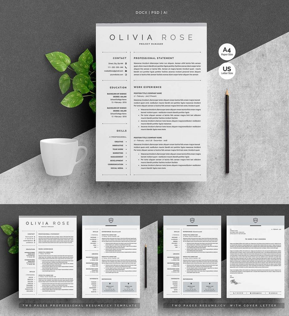 3 Pages Word Resume Template Cover Letter Template Letter