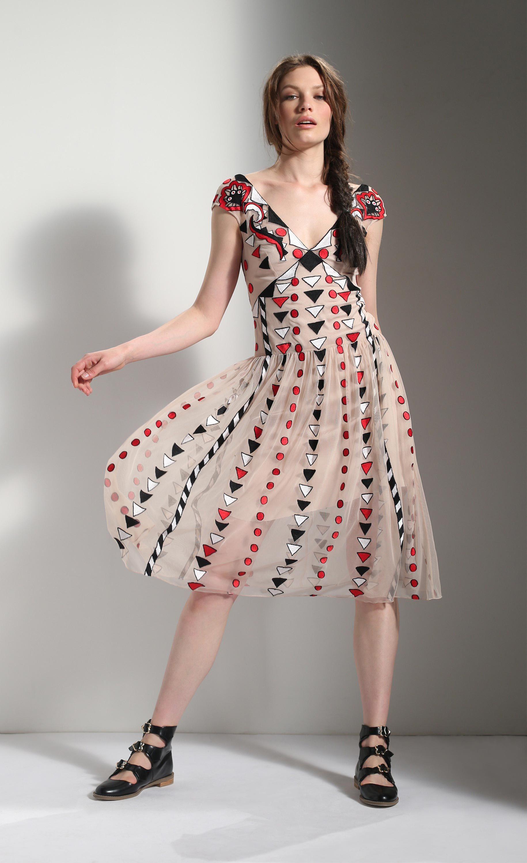 The temperley london spring u maryana v neck dress Вечерние