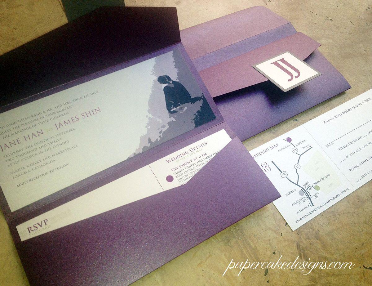 Jane & james wedding pocket folder invites | Wedding - Invitations ...
