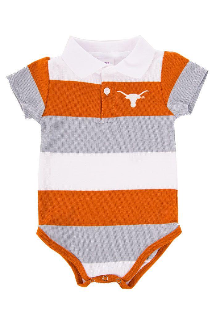 8ee0abb569d7a Texas Longhorns Infant Striped Polo Onesie