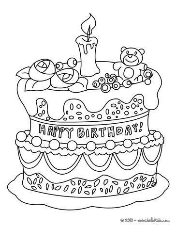 Birthday cake coloring page Elsie Pinterest Birthday cakes