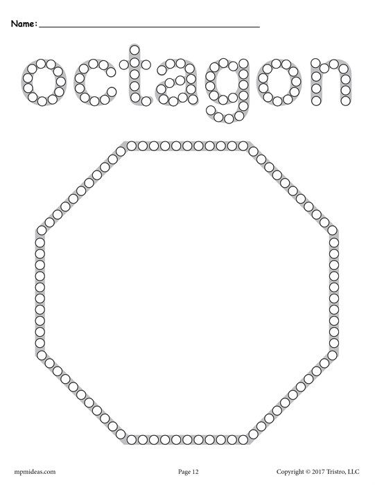 Free Octagon Q Tip Painting Printable Shapes Preschool Q Tip Painting Shapes Preschool Printables