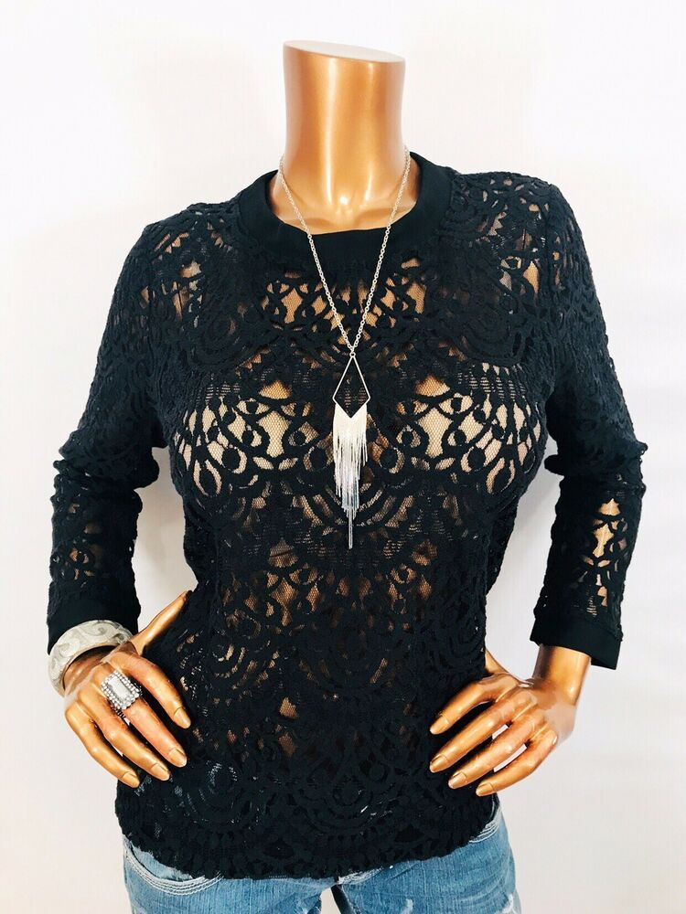 92c15e31 Banana Republic L Top NWT Stretch Lace Button Diwn Back Blouse Long Sleeve  Black | eBay