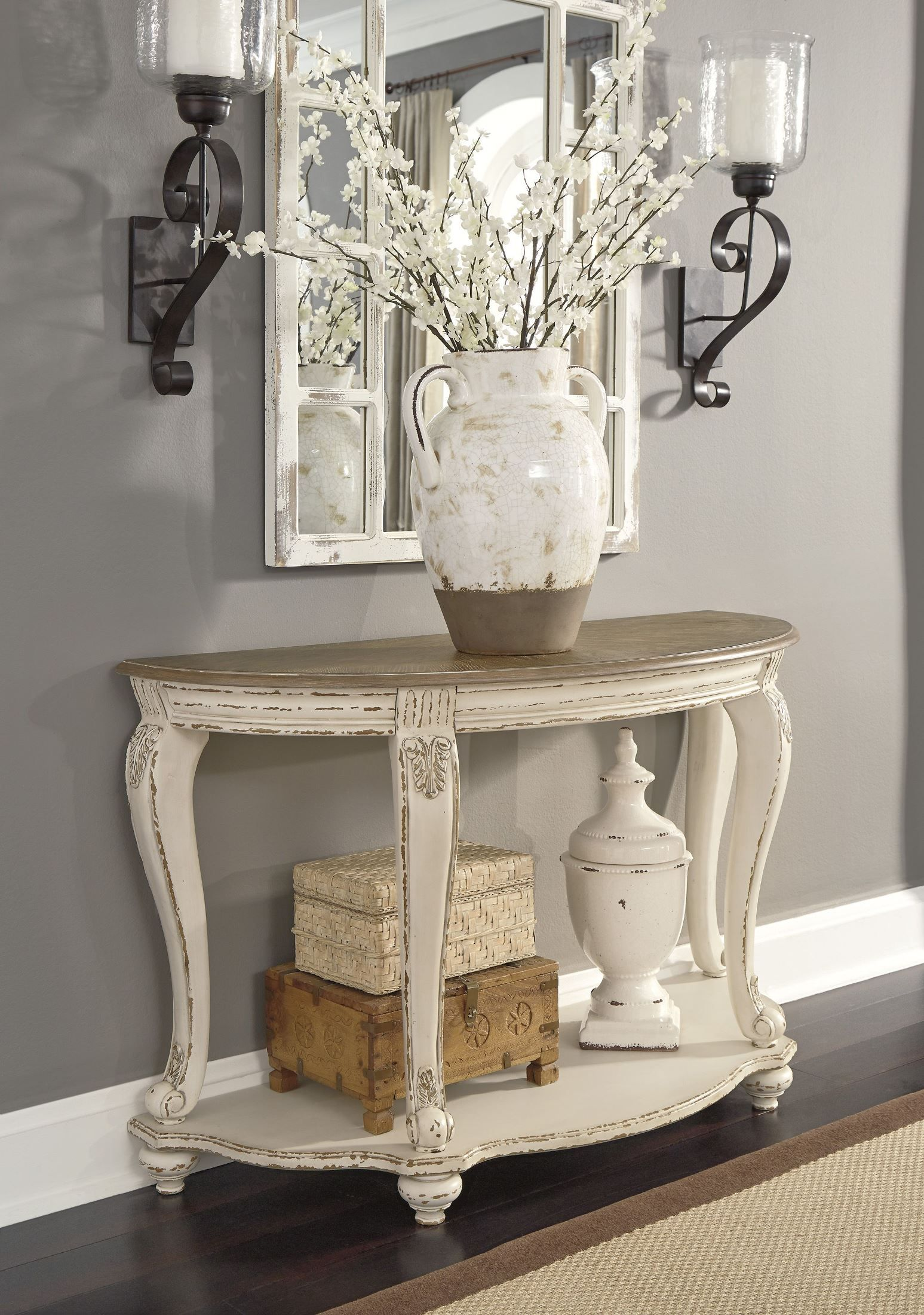 Realyn White and Brown Sofa Table in 2020 Sofa table