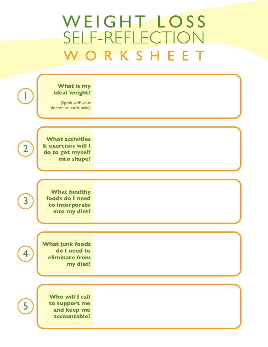 Weight Loss Self Reflection Worksheet By My Workouts Pay