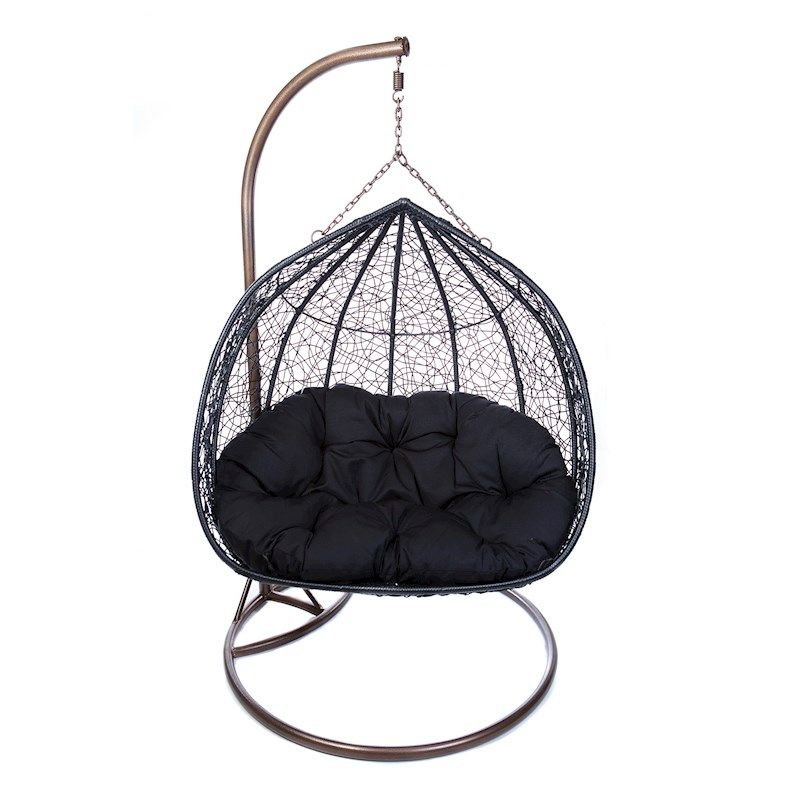 Double hanging egg chair rattan wicker outdoor furniture