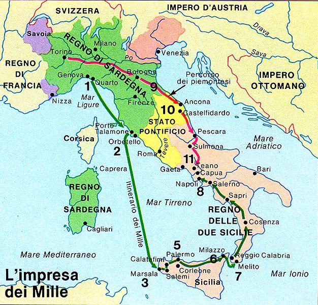 Cartina Italia Prima Dell Unificazione.Cartina Dell Italia Con Il Percorso Dei Mille Italia E Nizza