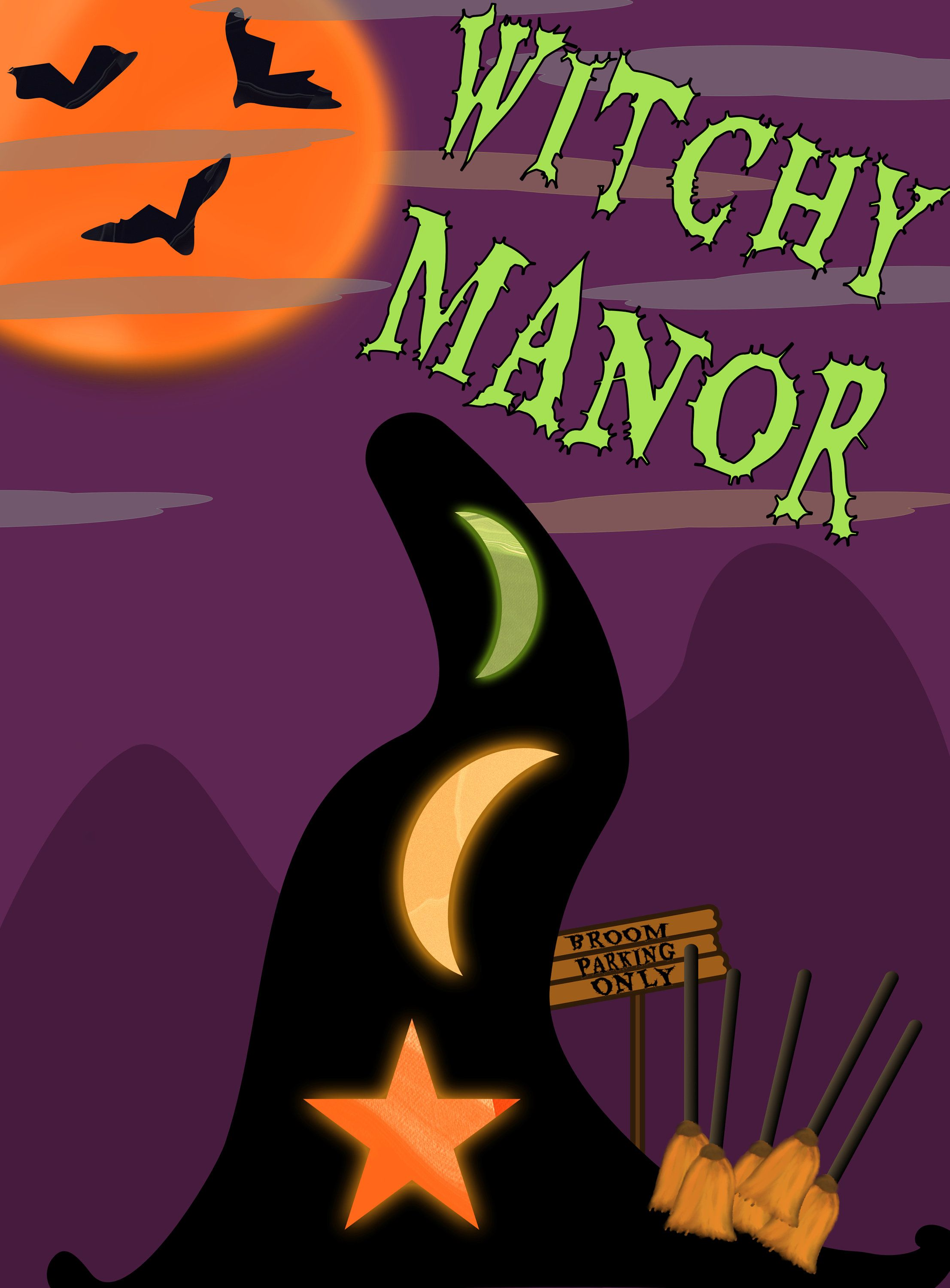 Halloween / witchy manor/ jpeg/sublimation graphic (With