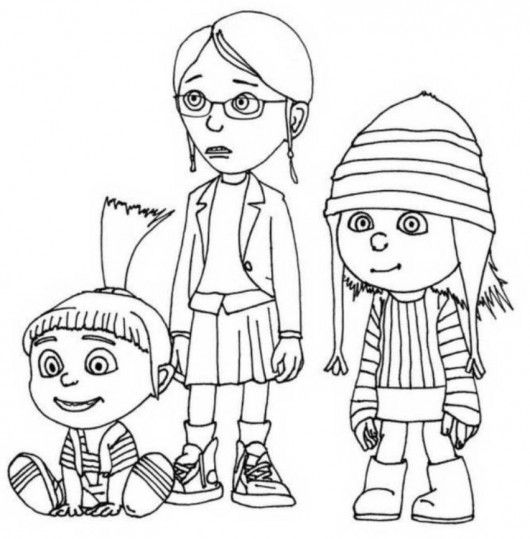 Despicable Me Margo Edith And Agnes Coloring Pages