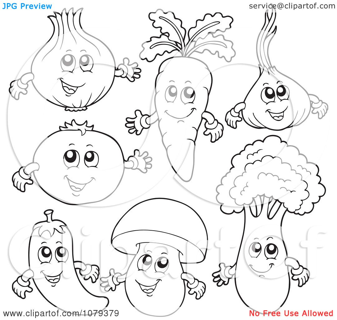 clipart outlined vegetable characters royalty free vector illustration by visekart
