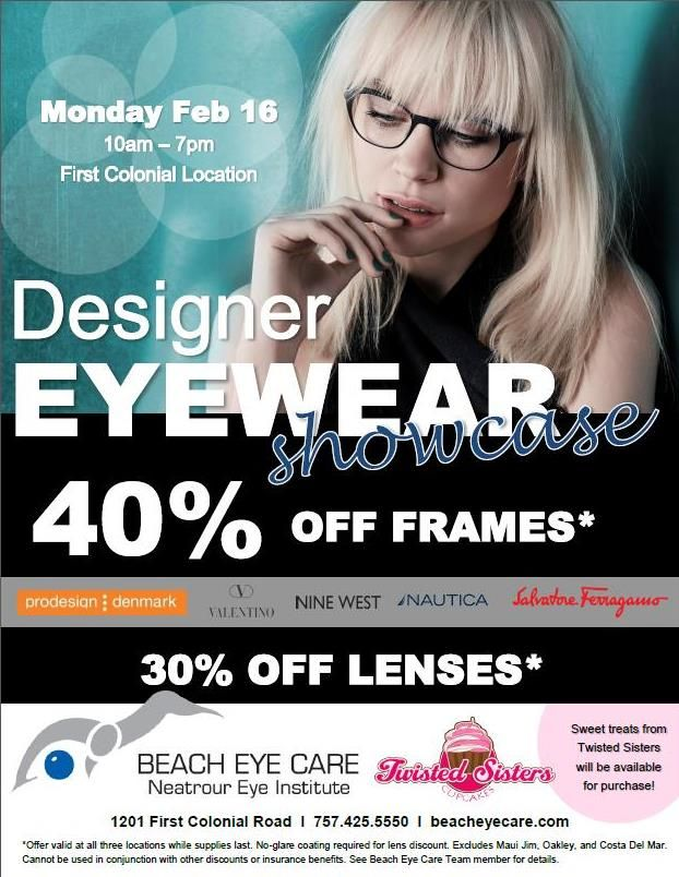 44773c73103 Visit Beach Eye Care on Monday February 16th to get up to 40% off select  designer eyewear frames and 30% of lenses.  NineWest  Nautica  ProDesign ...