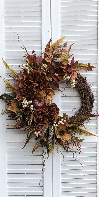 Photo of Autumn peony wreath for front door / autumn berry wreath for autumn / autumn magnolia wreath with autumn leaves / autumn pumpkin wreath for door
