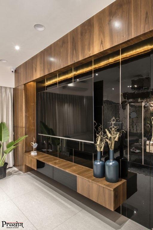 Classically Sophisticated Apartment Interiors Prayog Design Studio The Architects Diary Living Room Tv Unit Designs Living Room Tv Unit Wall Tv Unit Design