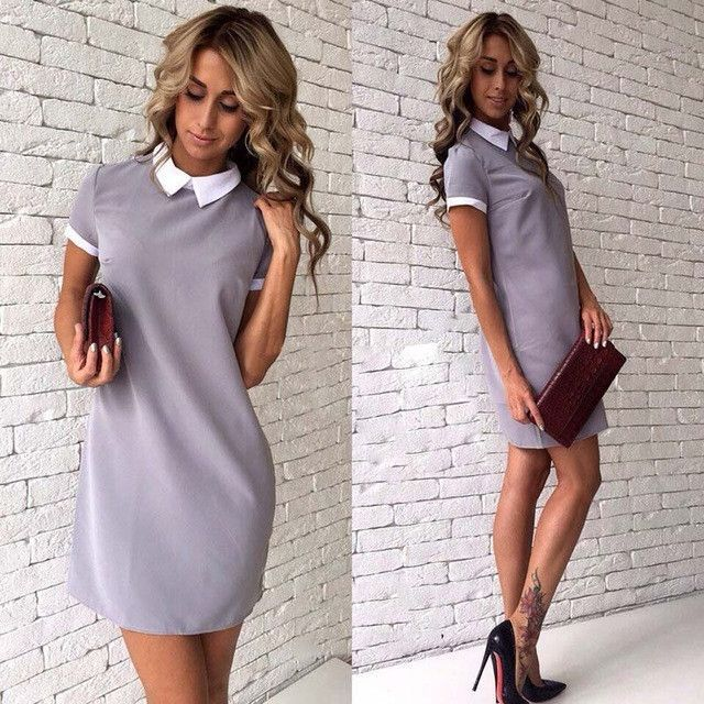 526aedfe437 Uncinba New Short Sleeve Dress Turn-down Collar Casual Style Straight Mini  Dresses
