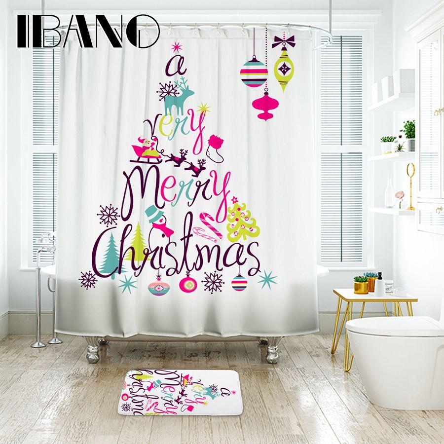 Ibano Christmas Shower Curtain Waterproof Polyester Fabric Bath