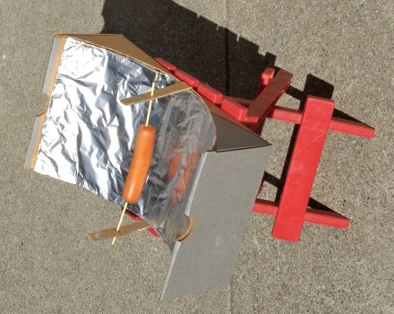 Homemade Solar Powered Hot Dog Cooker