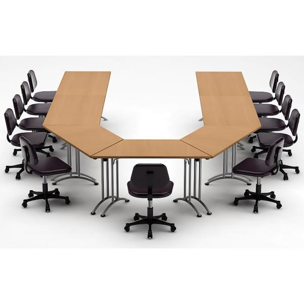 Teamwork Tables 7 Piece Natural Beech Conference Tables Meeting Tables Seminar Tables Compact Space Maximum Collaboration 3896 The Home Depot Conference Table Meeting Table Team Table